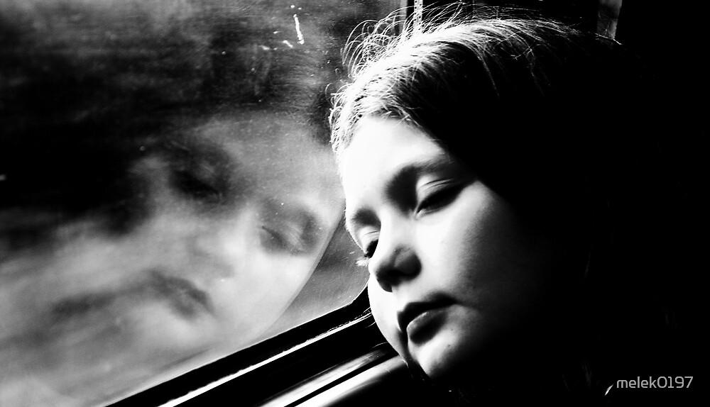 Child's reflection in train window by melek0197