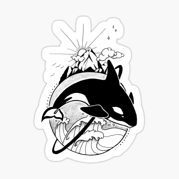 Orca World (Outlined) Sticker