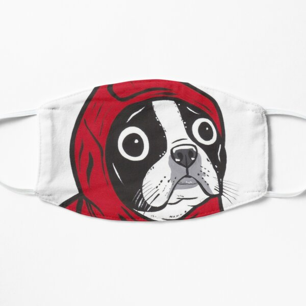 Boston Terrier in a Red Hoodie Mask