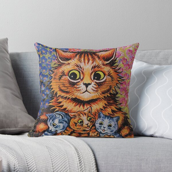 A CAT & HER KITTENS - LOUIS WAIN Throw Pillow