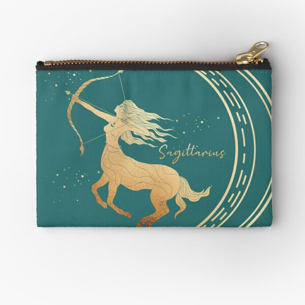 Sagittarius Woman with bow and arrow in the night sky with the moon and the stars - Teal Zipper Pouch