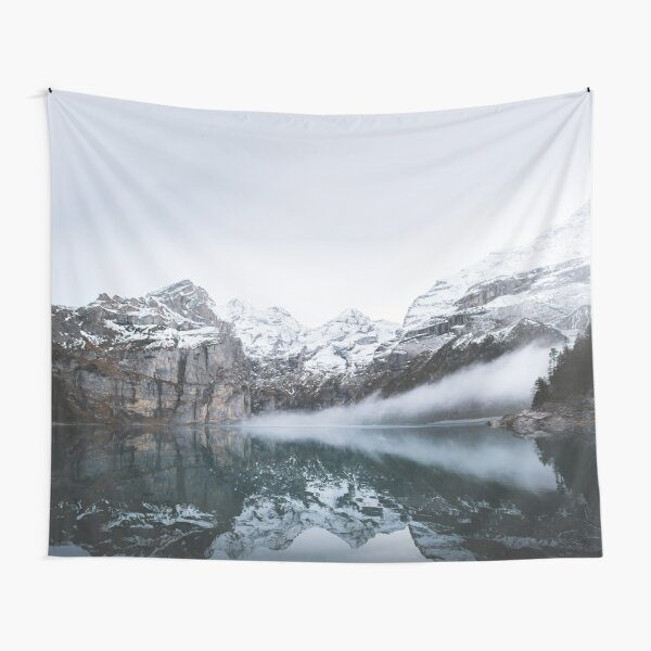 Cool Winter Foggy Mountain Lake Mist Tapestry
