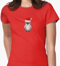Baby Penguin Wearing a Santa Hat on Red Women's Fitted T-Shirt
