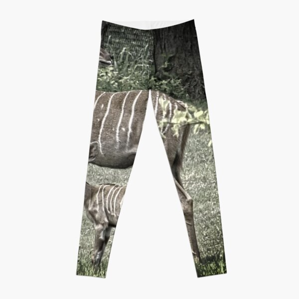 African Kudu Antelope, Mother and Baby, Muted Color Leggings