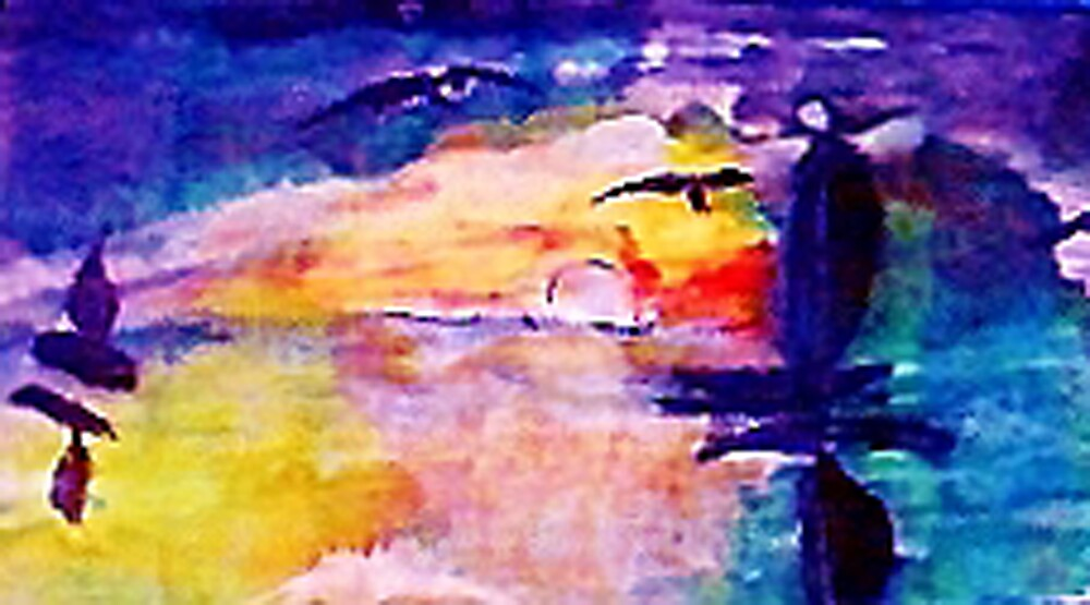Abstract sunset at sea, watercolor by Anna  Lewis, blind artist