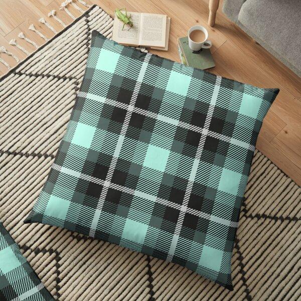 Black Twill Plaid Tartan Mint Green Floor Pillow