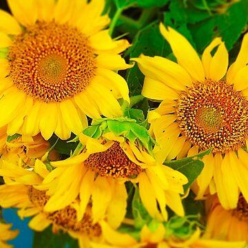 Sunflowers in Vase, Farmers Market, Kansas City by PhotosByTrish
