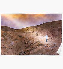 Jewish prayer in the desert wearing a tallit Poster