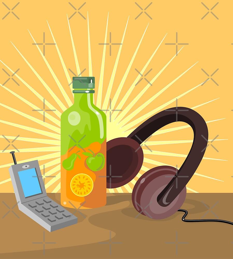 Mobile Phone Soda Drink Headphone Retro by patrimonio