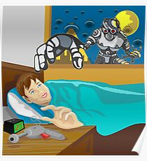 Alien Robot Snatching Kid Poster