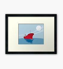 Container Ship Cargo Boat Retro Framed Print