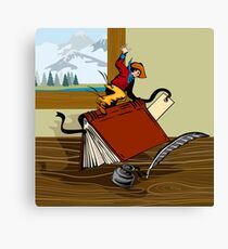 Rodeo Cowboy Riding Book Retro Canvas Print