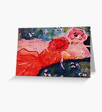 Who are you asking to the dance, girl talk, watercolor Greeting Card