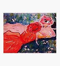 Who are you asking to the dance, girl talk, watercolor Photographic Print