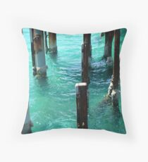 Water under the jetty Throw Pillow