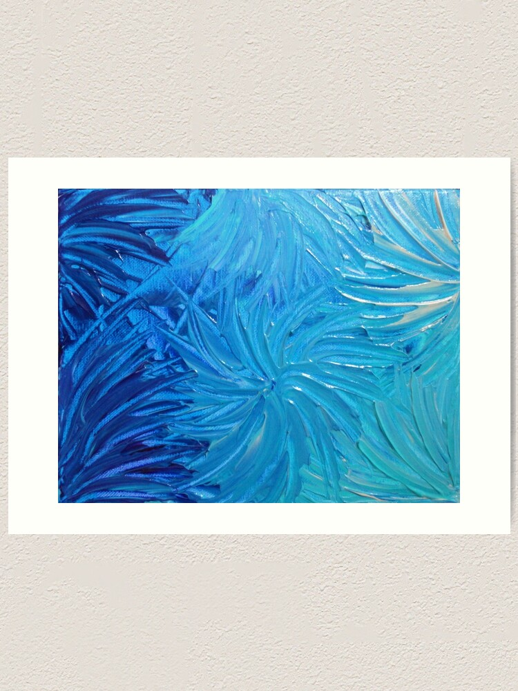 original abstract wall art green and yellow painting on paper Blue whimsical acrylic artwork