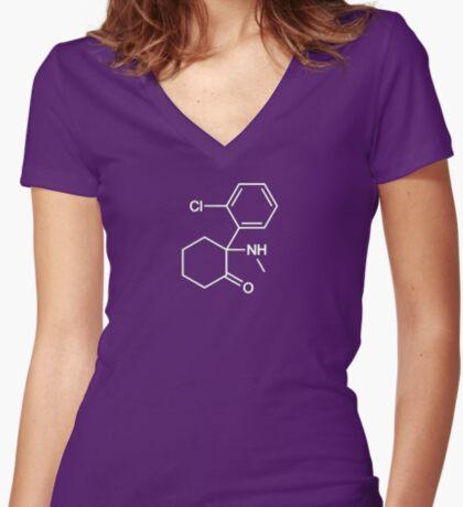 Ketamine Women's Fitted V-Neck T-Shirt
