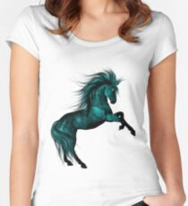 Blue Ice .. Fantasy Horse Women's Fitted Scoop T-Shirt