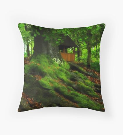 Bungalow in green Throw Pillow