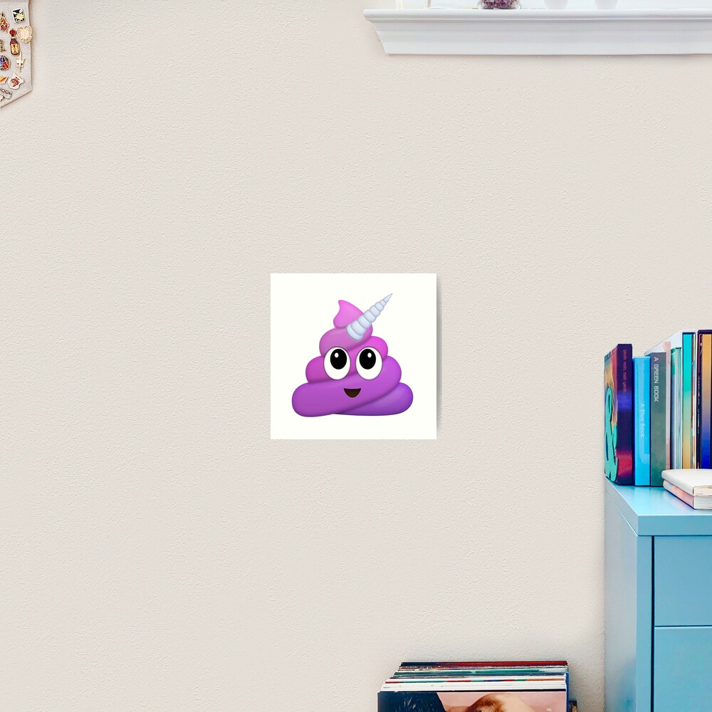 Purple Unicorn Poop Emoji Art Print