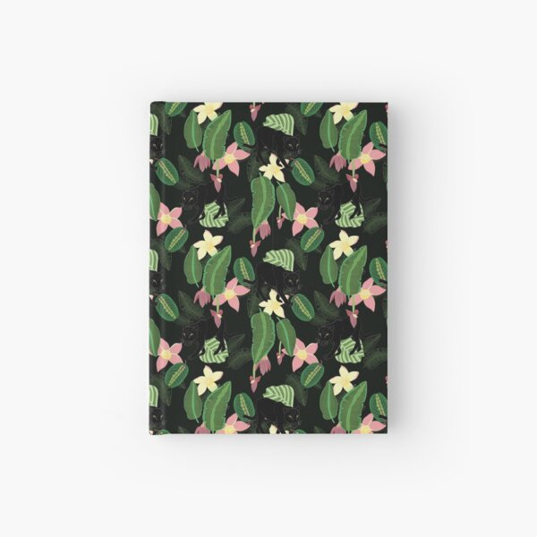 Tropical panther (dark background) Hardcover Journal