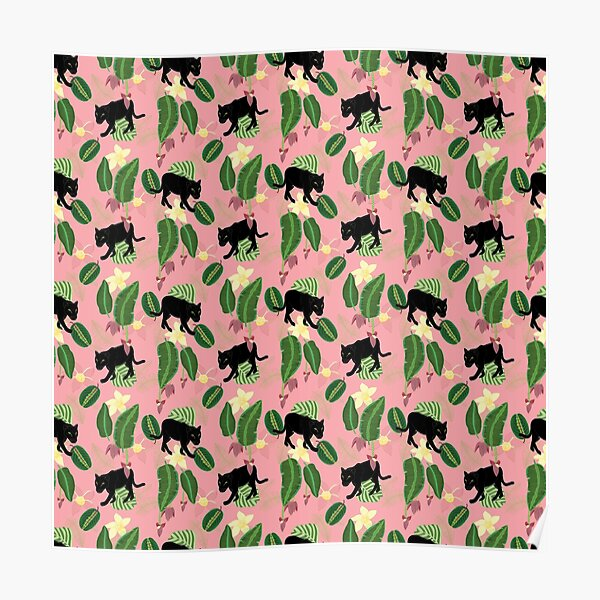 Tropical panther (pink background) Poster