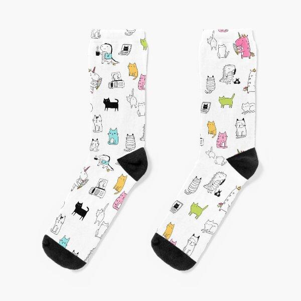 Cats. Dinosaurs. Unicorn. Sticker set. Socks