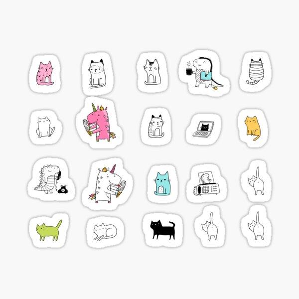 chats doodle et licorne Taguez-moi sur Instagram @ kostolom3000 Sticker