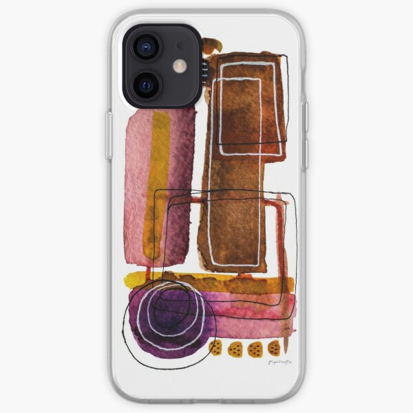 Watercolour Ochre and Brown Wall Art iPhone Soft Case