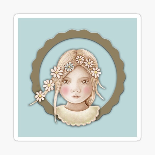 cute girl with daisy chain in her hair Sticker