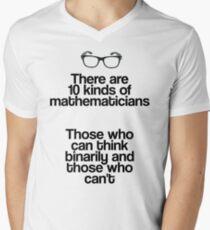 Maths - Binary - Funny Mens V-Neck T-Shirt