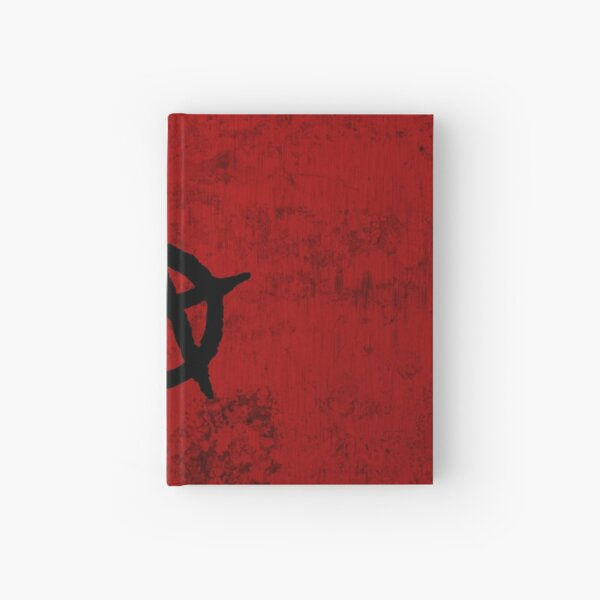 anarchy symbol on red grungy background dirt effect grunge effect Hardcover Journal