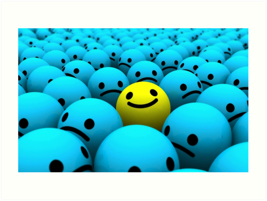yellow smiling emoji in a crowd of blue sad emojis art prints by