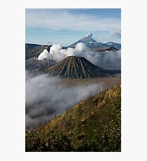 Steam erupts from Bromo and Semeru volcanic vents. Photographic Print
