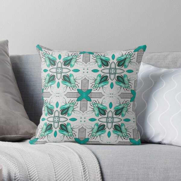 Green Beetle Tile on Grey Throw Pillow