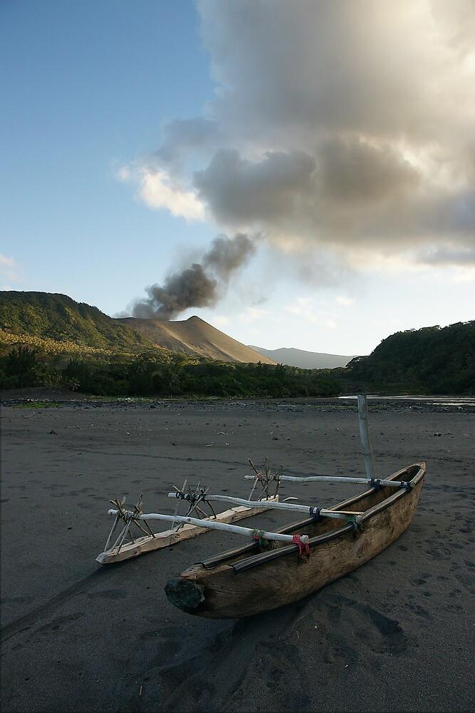 Yasur volcanic eruption. Sulfur Bay. Tanna. by Ian Hallmond