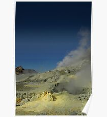 Steaming sulfur vents. White Island volcano. NZ Poster