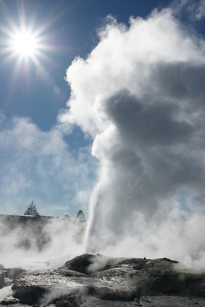 Pohutu geyser and sun. Rotorua. NZ by Ian Hallmond