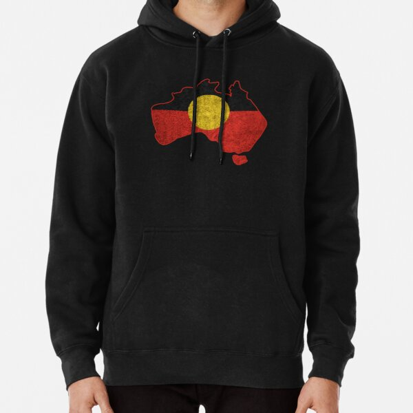 #3 Distressed Aboriginal Flag Pullover Hoodie