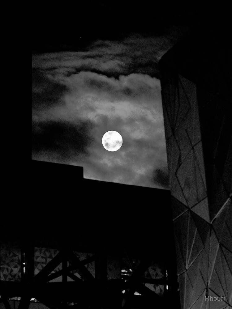 The Moon Above the City by Rhoufi