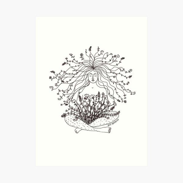 Growing Flowers Woman Illustration  Art Print