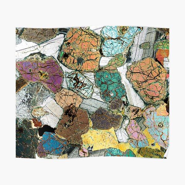 Geology gift - Peridotite from Ardnamurchan, Scotland Rock Thin Section Microscope Photo Poster