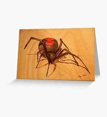 Pyrography: Australian Redback Spider Greeting Card