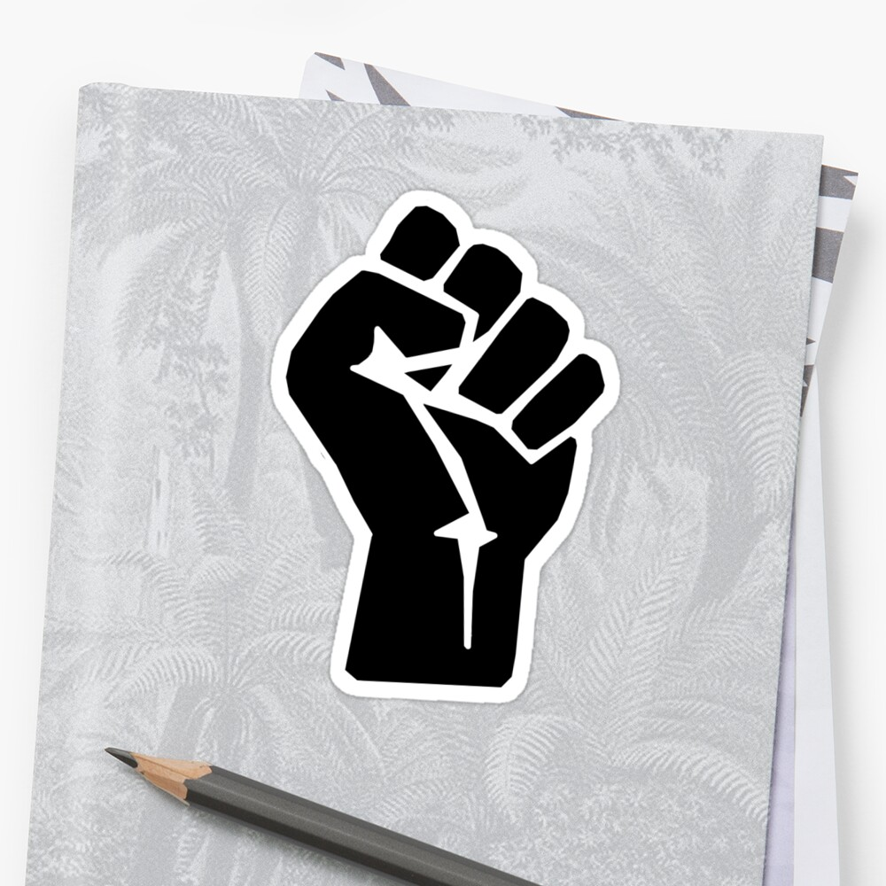 FIST, Black, Rebellion, Strength, Power, Grasp, Grab, Hold, Tough, MMA Stickers