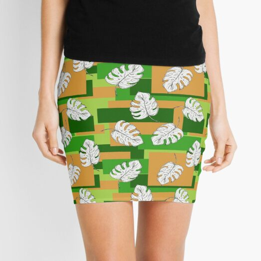 white leaves on a colorful background. flower pattern. Mini Skirt