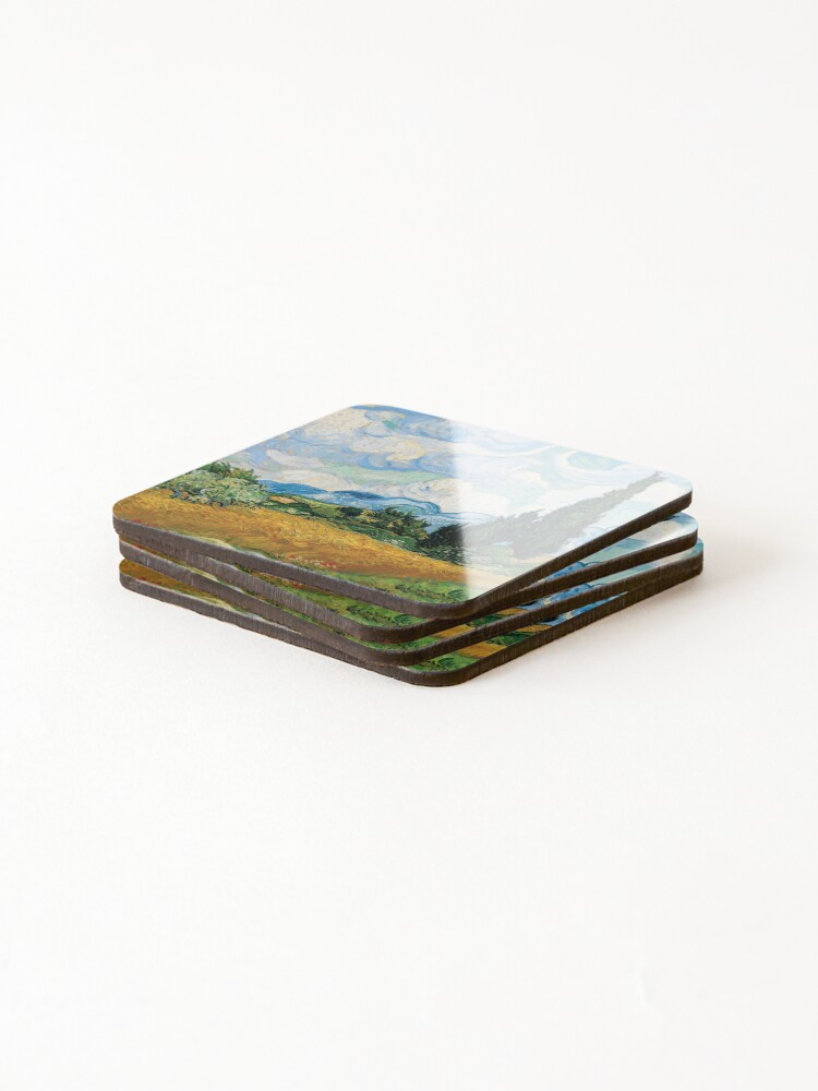Alternate view of Vincent Van Gogh - Wheat Field with Cypress Trees Coasters (Set of 4)