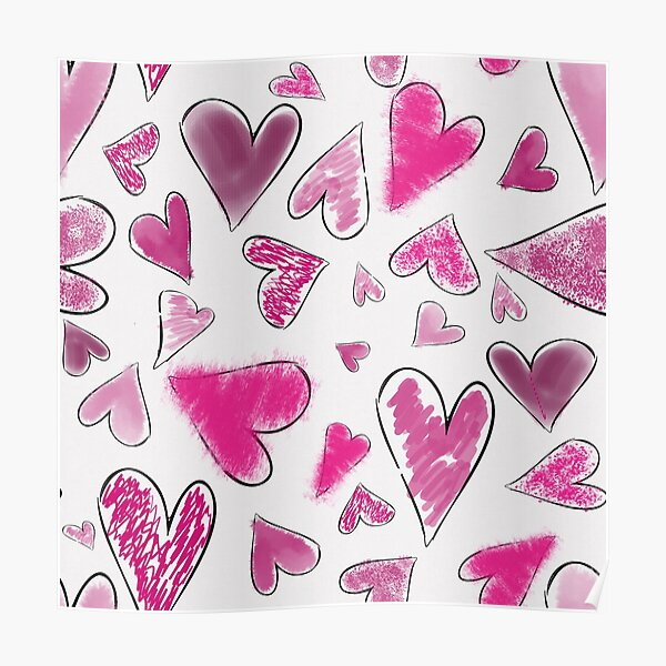 Whimsical Pink Messy Hearts Pattern Poster