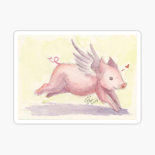 Leaping Flying Piglet Sticker