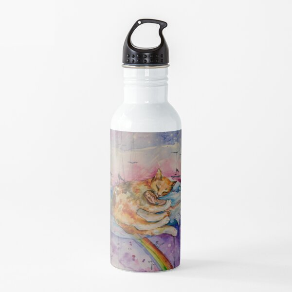 The girl sleeps on a good cat. In the clouds, among rainbows and birds. Water Bottle
