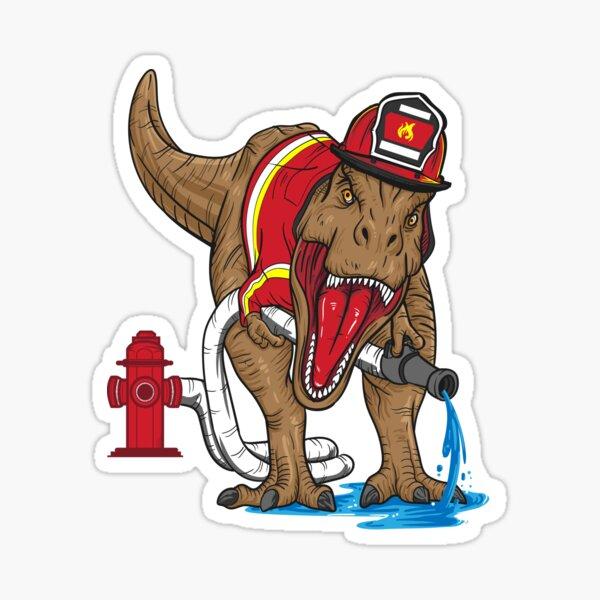 Firefighter T Rex Dinosaur Kids Sticker